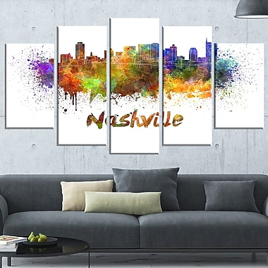 Las Vegas Skyline Cityscape Metal Wall Art, 60x32, 5 Panels, (MT6567-373)