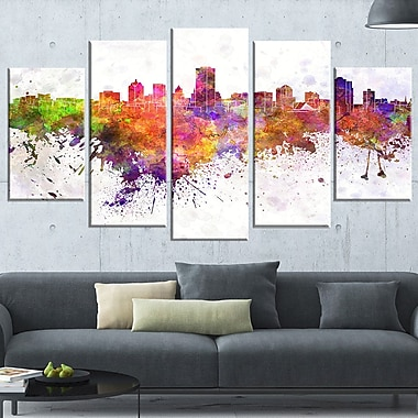 Milwaukee Skyline Cityscape Metal Wall Art, 60x32, 5 Panels, (MT6568-373)