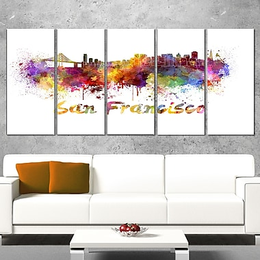 San Francisco Skyline Cityscape Metal Wall Art, 60x28, 5 Panels, (MT6569-401)