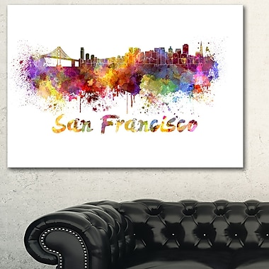 San Francisco Skyline Cityscape Metal Wall Art, 28x12, (MT6569-28-12)