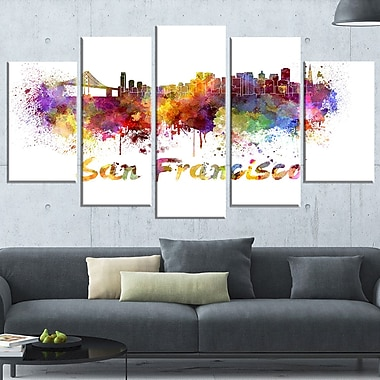 San Francisco Skyline Cityscape Metal Wall Art, 60x32, 5 Panels, (MT6569-373)