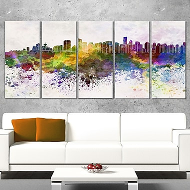 Vancouver Skyline Cityscape Metal Wall Art, 60x28, 5 Panels, (MT6570-401)