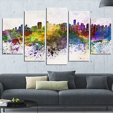 Vancouver Skyline Cityscape Metal Wall Art, 60x32, 5 Panels, (MT6570-373)