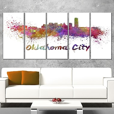 Oklahoma Skyline Cityscape Metal Wall Art, 60x28, 5 Panels, (MT6571-401)