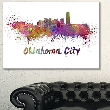 Oklahoma Skyline Cityscape Metal Wall Art, 28x12, (MT6571-28-12)