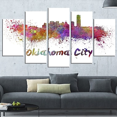 Oklahoma Skyline Cityscape Metal Wall Art, 60x32, 5 Panels, (MT6571-373)