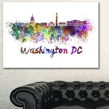Washington DC Skyline Cityscape Metal Wall Art, 28x12, (MT6572-28-12)