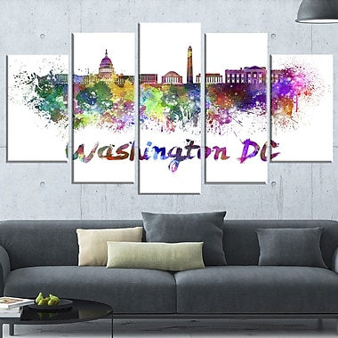 Washington DC Skyline Cityscape Metal Wall Art, 60x32, 5 Panels, (MT6572-373)