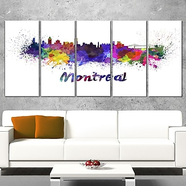 Montreal Skyline Cityscape Metal Wall Art, 60x28, 5 Panels, (MT6573-401)