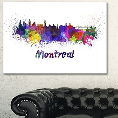 Montreal Skyline Cityscape Metal Wall Art, 28x12, (MT6573-28-12)