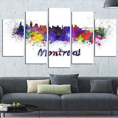 Montreal Skyline Cityscape Metal Wall Art, 60x32, 5 Panels, (MT6573-373)