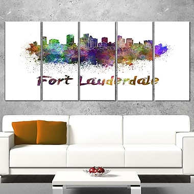 Fort Lauderdale Skyline Cityscape Metal Wall Art, 60x28, 5 Panels, (MT6574-401)