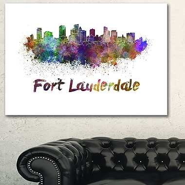 Fort Lauderdale Skyline Cityscape Metal Wall Art, 28x12, (MT6574-28-12)