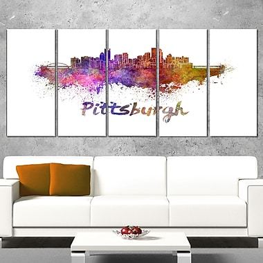 Pittsburgh Skyline Cityscape Metal Wall Art, 60x28, 5 Panels, (MT6575-401)