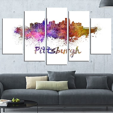Pittsburgh Skyline Cityscape Metal Wall Art, 60x32, 5 Panels, (MT6575-373)