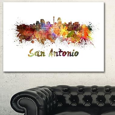Art mural en métal, paysage, horizon urbain de San Antonio, 28 x 12 po, (MT6576-28-12)