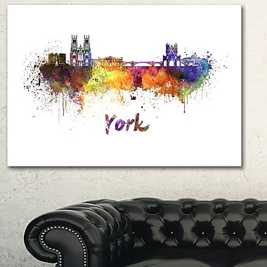 York Skyline Cityscape Metal Wall Art, 28x12, (MT6579-28-12)