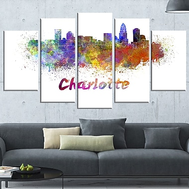 Charlotte Skyline Cityscape Metal Wall Art, 60x32, 5 Panels, (MT6580-373)