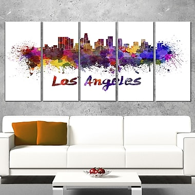 Los Angeles Skyline Cityscape Metal Wall Art, 60x28, 5 Panels, (MT6582-401)