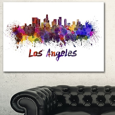 Los Angeles Skyline Cityscape Metal Wall Art, 28x12, (MT6582-28-12)