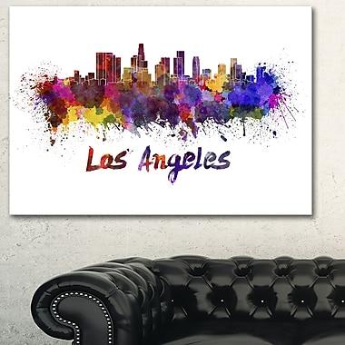 Art mural en métal, paysage urbain, ligne d'horizon de Los Angeles, 28 x 12 (MT6582-28-12)