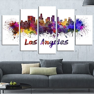 Los Angeles Skyline Cityscape Metal Wall Art, 60x32, 5 Panels, (MT6582-373)