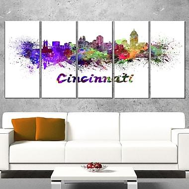 Cincinnati Skyline Cityscape Metal Wall Art, 60x28, 5 Panels, (MT6583-401)