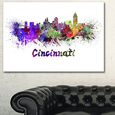 Cincinnati Skyline Cityscape Metal Wall Art, 28x12, (MT6583-28-12)