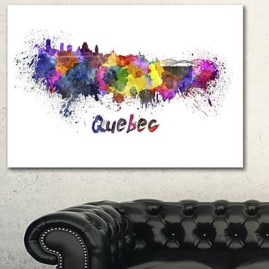 Art mural en métal, paysage urbain, ligne d'horizon de Québec, 28 x 12 (MT6584-28-12)
