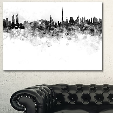 Dubai Skyline Cityscape Metal Wall Art, 28x12, (MT6586-28-12)