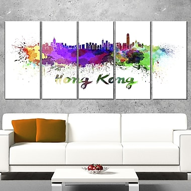 Hong Kong Skyline Cityscape Metal Wall Art, 60x28, 5 Panels, (MT6587-401)