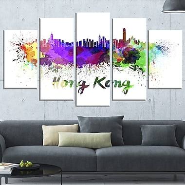 Hong Kong Skyline Cityscape Metal Wall Art, 60x32, 5 Panels, (MT6587-373)