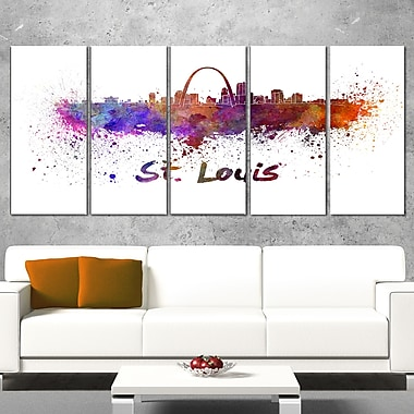 St Louis Skyline Cityscape Metal Wall Art, 60x28, 5 Panels, (MT6588-401)