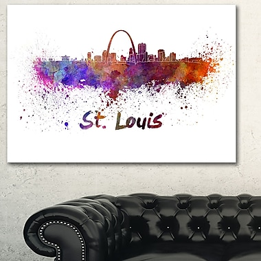 St Louis Skyline Cityscape Metal Wall Art, 28x12, (MT6588-28-12)