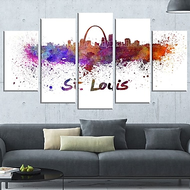 St Louis Skyline Cityscape Metal Wall Art, 60x32, 5 Panels, (MT6588-373)
