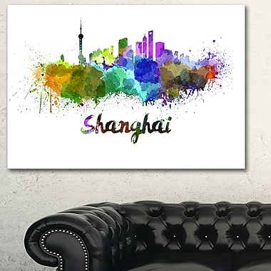 Shanghai Skyline Cityscape Metal Wall Art, 28x12, (MT6590-28-12)