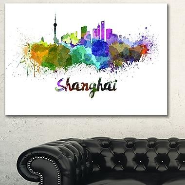Art mural en métal, paysage urbain, ligne d'horizon de Shanghai, 28 x 12 (MT6590-28-12)