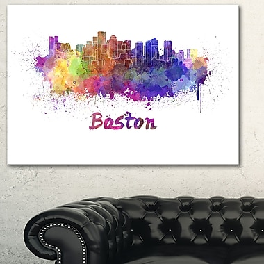 Boston Skyline Cityscape Metal Wall Art, 28x12, (MT6591-28-12)