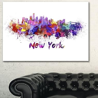New York Skyline Cityscape Metal Wall Art, 28x12, (MT6592-28-12)