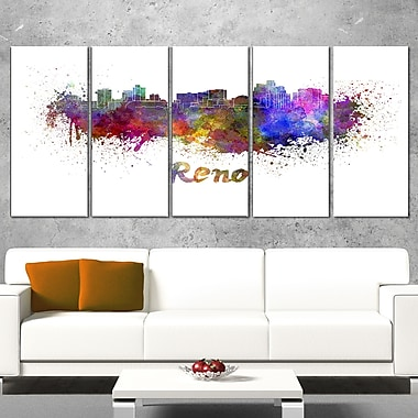 Reno Skyline Cityscape Metal Wall Art, 60x28, 5 Panels, (MT6594-401)