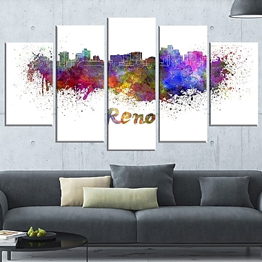 Reno Skyline Cityscape Metal Wall Art, 60x32, 5 Panels, (MT6594-373)