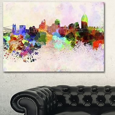 Cincinnati Skyline Cityscape Metal Wall Art, 28x12, (MT6595-28-12)