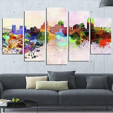 Cincinnati Skyline Cityscape Metal Wall Art, 60x32, 5 Panels, (MT6595-373)