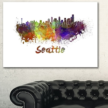 Seattle Skyline Cityscape Metal Wall Art, 28x12, (MT6596-28-12)