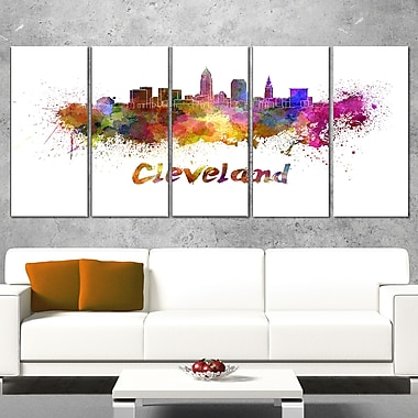 Cleveland Skyline Cityscape Metal Wall Art, 60x28, 5 Panels, (MT6597-401)