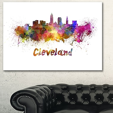 Cleveland Skyline Cityscape Metal Wall Art, 28x12, (MT6597-28-12)