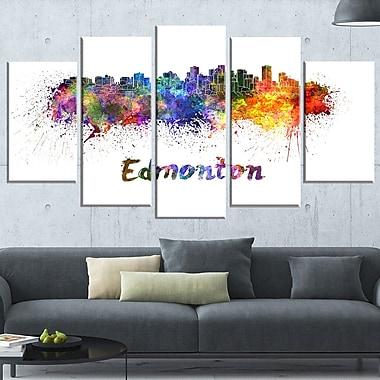 Art mural en métal, paysage, horizon urbain d'Edmonton, 60 x 32 po, 5 panneaux, (MT6598-373)