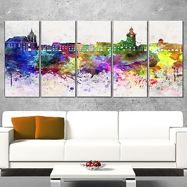 Brasov Skyline Cityscape Metal Wall Art, 60x28, 5 Panels, (MT6600-401)