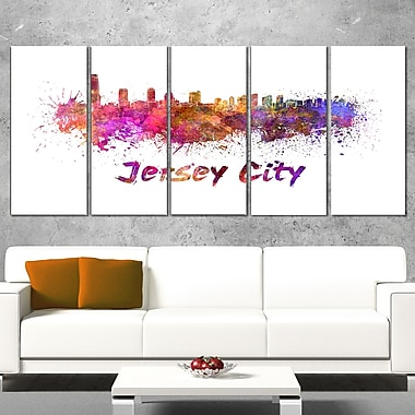 Jersey City Skyline Cityscape Metal Wall Art, 60x28, 5 Panels, (MT6601-401)