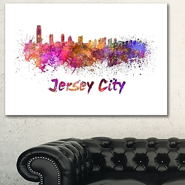 Art mural en métal, paysage urbain, ligne d'horizon de Jersey, 28 x 12 (MT6601-28-12)